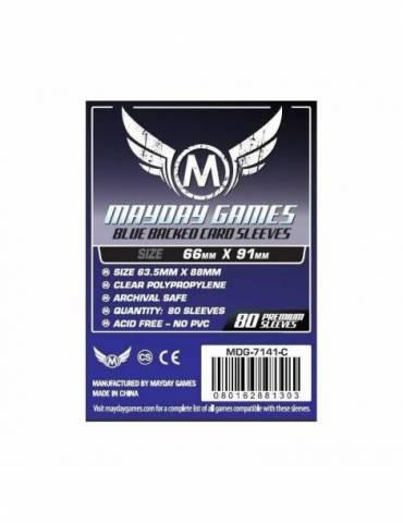 Fundas Mayday Card game Sleeves Blue Backed 66 x 91 mm (80 unidades)