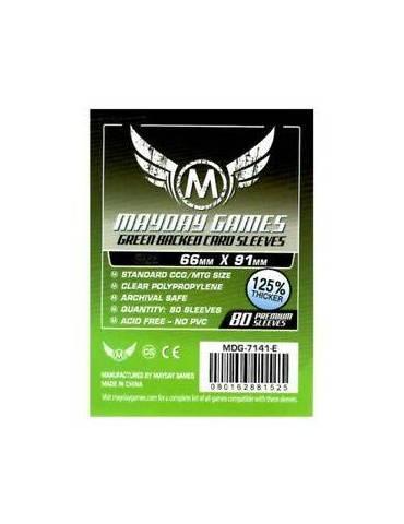 Fundas Mayday Card game Sleeves Green Backed 66 x 91 mm (80 unidades)
