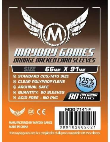 Fundas Mayday Card game Sleeves Orange Backed 66 x 91 mm (80 unidades)