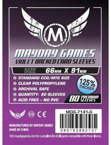 Fundas Mayday Card game Sleeves Violet Backed 66 x 91 mm (80 unidades)