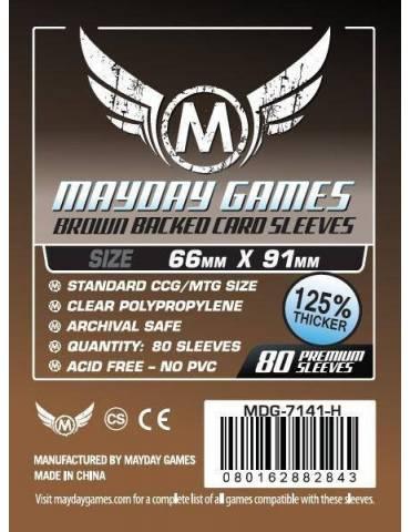 Fundas Mayday Card game Sleeves Brown Backed 66 x 91 mm (80 unidades)
