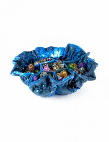 Velvet Compartment Dice Bag with Pockets:  Galaxy
